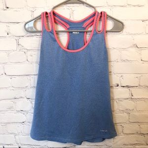 Hind blue & pink strappy athletic tank top